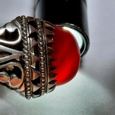 انگشتر جزع تراش قطعی سرخ یمانی اصل f480.6