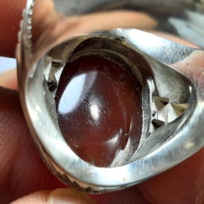انگشتر مردانه جزع سرخ تیره یمانی f482.3