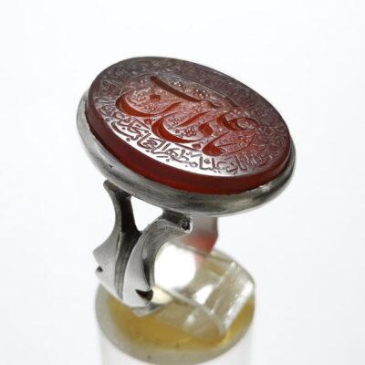 انگشتر نقره عقیق خطی 7101