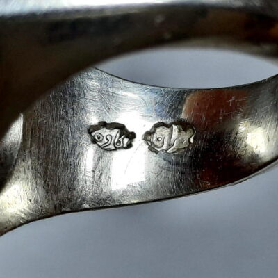 انگشتر مردانه عقیق خطی f486.3