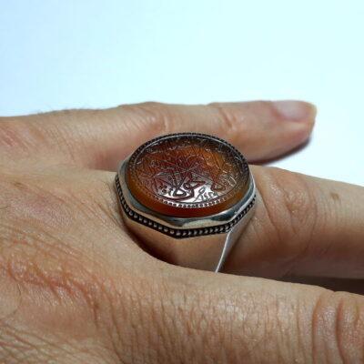 انگشتر مردانه عقیق خطی f486.4