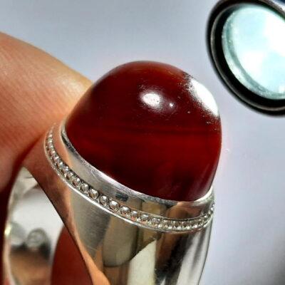 انگشتر مردانه جزع سرخ تیره یمانی f487.2