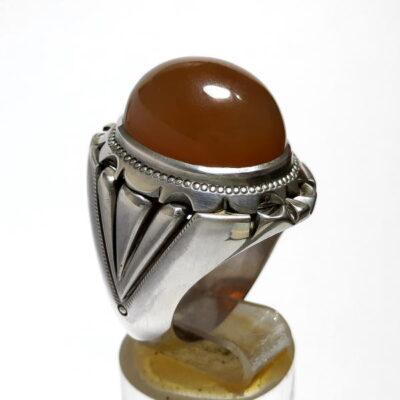 انگشتر نقره مردانه جزع یمانی a466