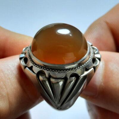 انگشتر نقره مردانه جزع یمانی a466.1