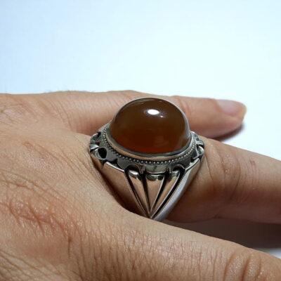 انگشتر نقره مردانه جزع یمانی a466.4
