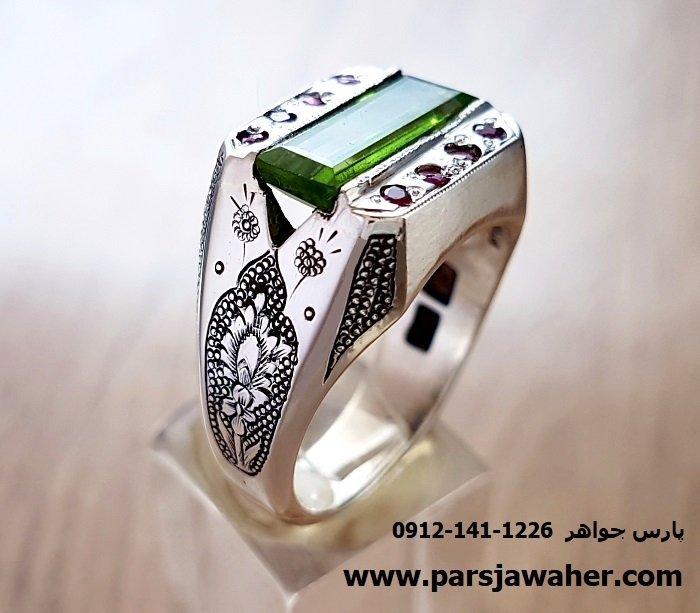 انگشتر قلم زنی مردانه زبرجد ابراهیمی 219