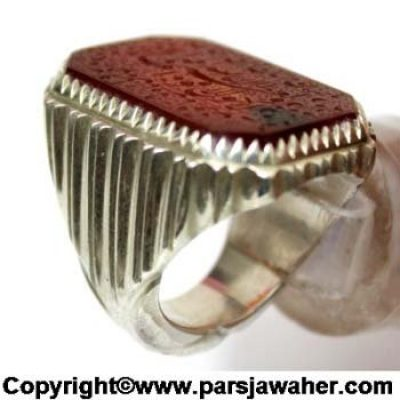 Engraved Agate Stone Silver Men's Ring 2615