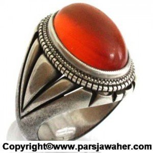 انگشتر نقره با سنگ عقیق سرخ رکاب بیگلو
