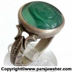 انگشتر عقیق سبز شمایل
