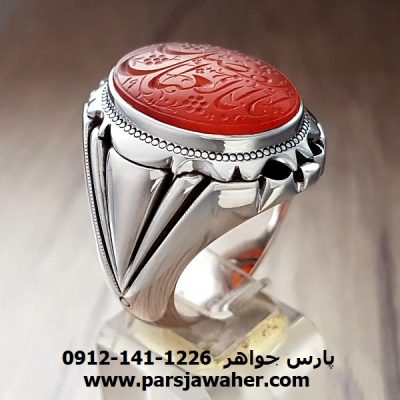 انگشتر مردانه عقیق یمنی خطی کهنه 8251