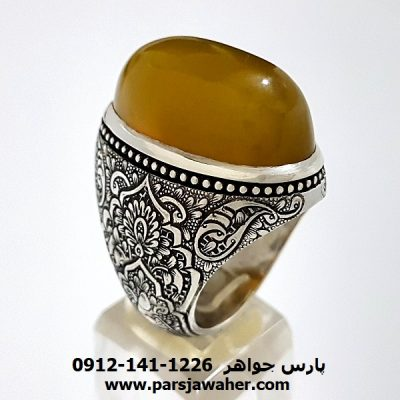 انگشتر مردانه نقره دست ساز عقیق f184