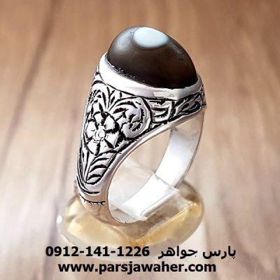 انگشتر جزع یمانی باباقوری قدیمی قلمزنی a172