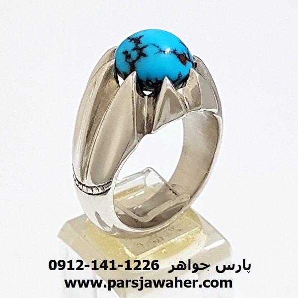 انگشتر دست ساز فدیوم فیروزه نیشابوری f186