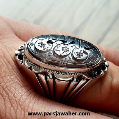 انگشتر مردانه نقره خطی 8249