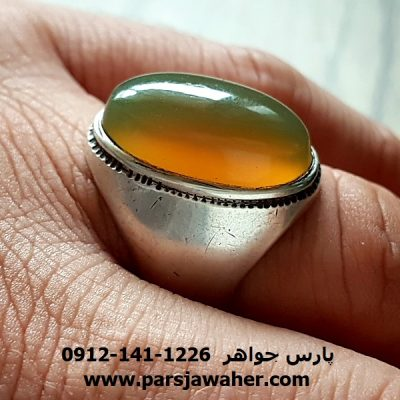 انگشتر جزع یمانی سبز زیتونی a176