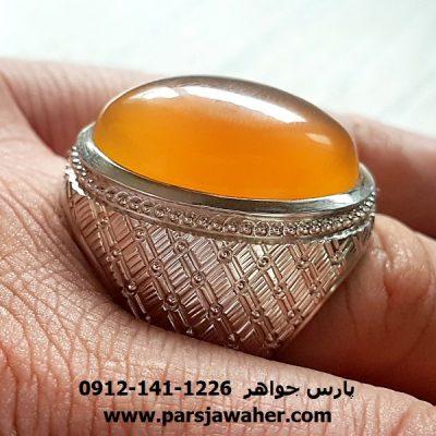انگشتر مردانه فدیوم عقیق زرد یمنی f193
