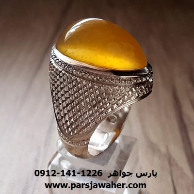 انگشتر فدیوم عقیق زرد یمنی اصل کد f194