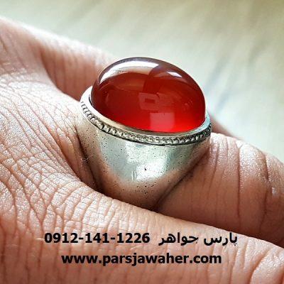 انگشتر قدیمی عقیق یمنی سرخ a176