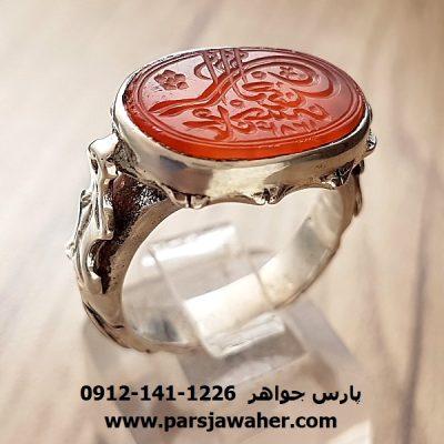 انگشتر خطی حکاکی دستی دوره قاجار f197