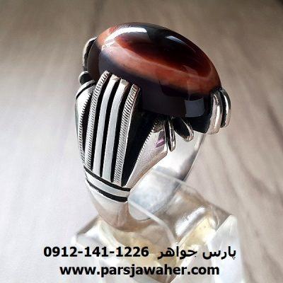 انگشتر مردانه جزع یمانی سه پوست a206