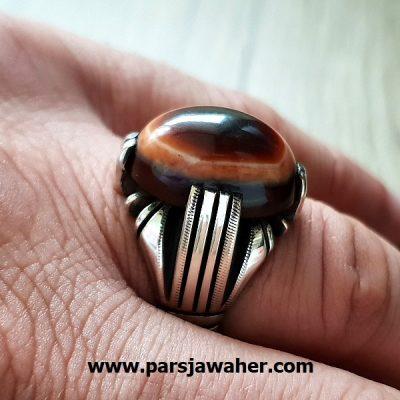 انگشتر مردانه جزع یمانی a206