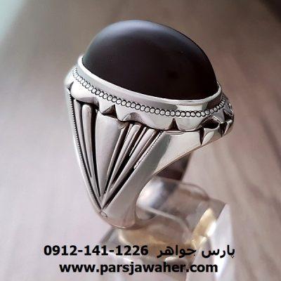 انگشتر جزع یمانی مردانه نقره دست ساز a207