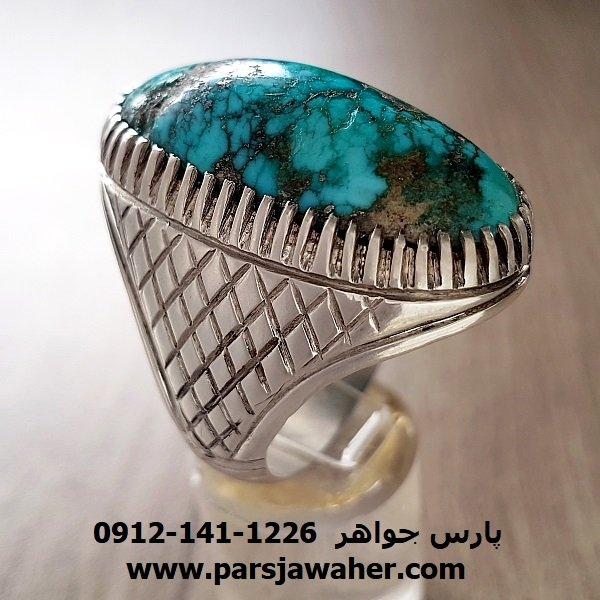 انگشتر فیروزه اصل نیشابوری مردانه f202