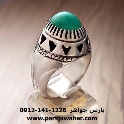 انگشتر فیروزه نیشابوری سبز دست ساز نقره 194