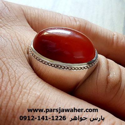 انگشتر عقیق تراش دار یمنی مردانه f203