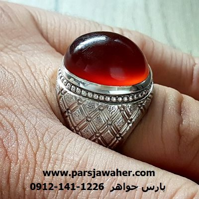 انگشتر فدیوم مردانه عقیق یمنی f204