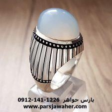 انگشتر فدیوم عقیق سفید یمنی مردانه f207