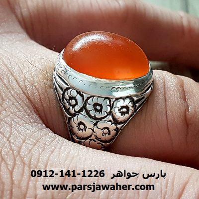 انگشتر قدیمی قلمزنی عقیق تراش قطعی یمنی a219