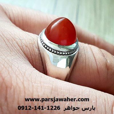 انگشتر مردانه نقره دست ساز عقیق a220