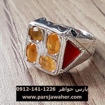 انگشتر یاقوت زرد رکاب دست ساز مردانه 330
