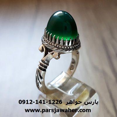 انگشتر عقیق سبز طوق دار با طبع روغنی a223