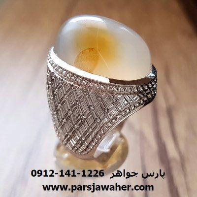 انگشتر فدیوم عقیق سفید یمنی مردانه f220
