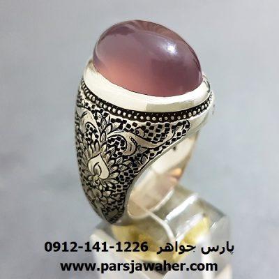 انگشتر قلمزنی عقیق سوسنی یمنی a228