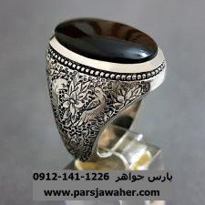 انگشتر عقیق مشکی یمنی قلم زنی a234