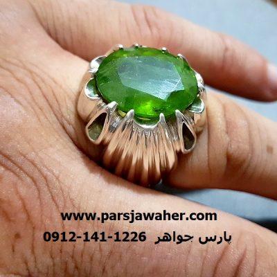 انگشتر مردانه زبرجد دست ساز f229