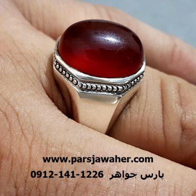 انگشتر عقیق سرخ مردانه دست ساز f231