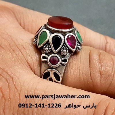 انگشتر جواهری رکاب نقره دست ساز a236