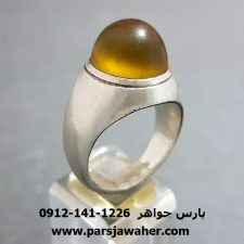 انگشتر عقیق زرد تراش قطعی یمنی f236