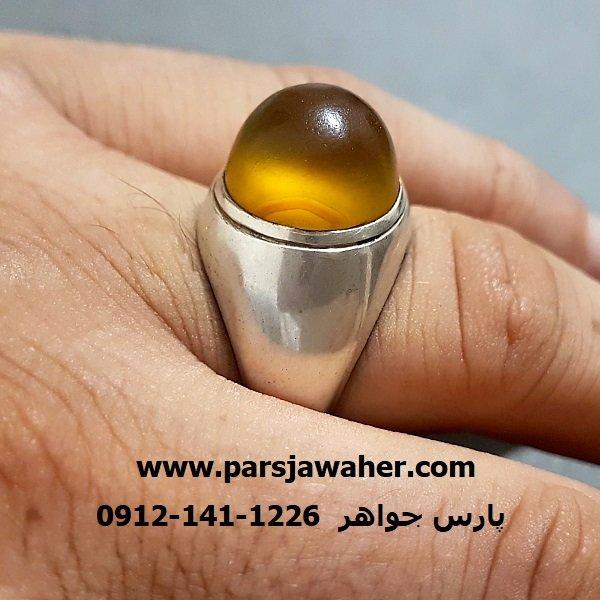 انگشتر عقیق زرد یمنی رکاب فیلی نقره f236