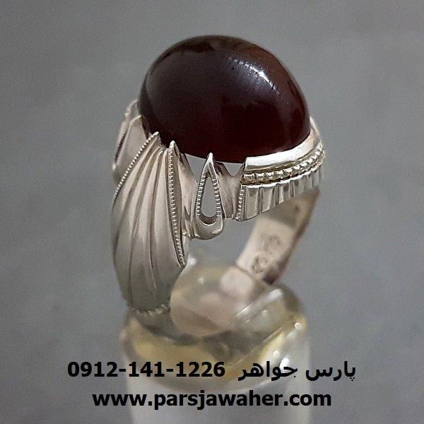 انگشتر عقیق یمنی آلبالویی مردانه f239