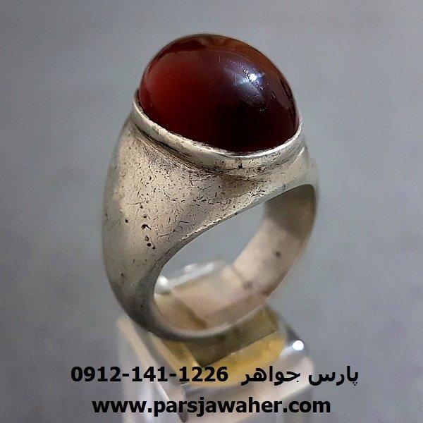 انگشتر جزع یمانی مردانه دست ساز f243