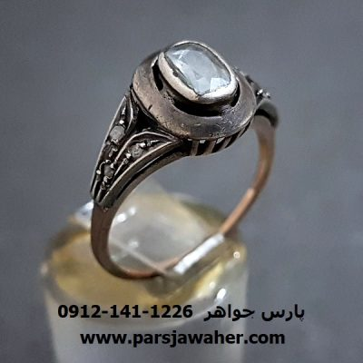 انگشتر الماس اصل قدیمی رکاب دست ساز f245