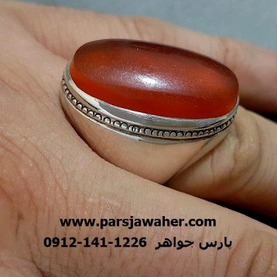 انگشتر عقیق یمنی رکاب نقره مردانه a266
