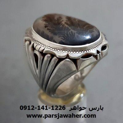 انگشتر عقیق شجر طبیعی مردانه 205
