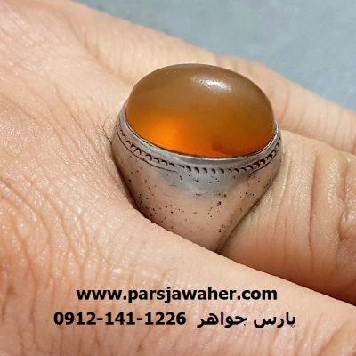 انگشتر عقیق زرد یمنی نقره a278
