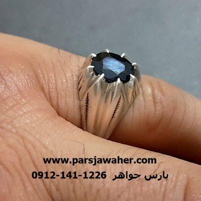 انگشتر رکاب نقره دست ساز سافایر 332